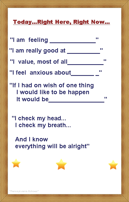 today right here right now affirmation poster