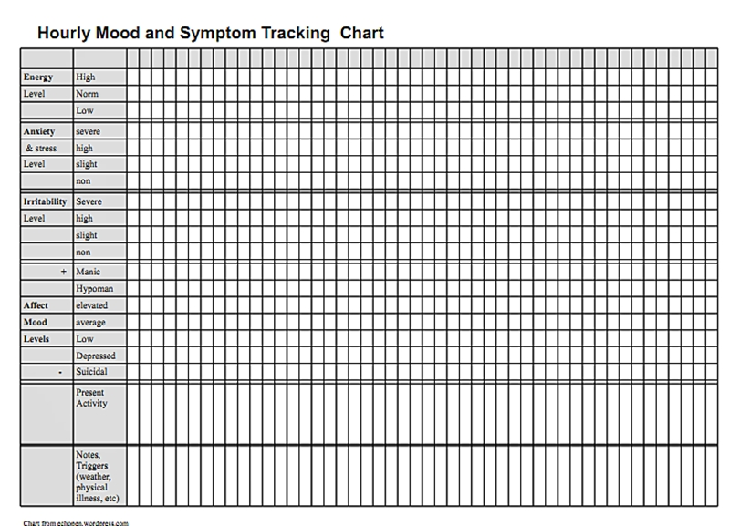 Hourly mood and symptom chart pennsylvania echoes for Mood log template